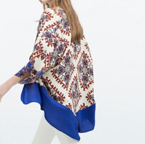 Zara Boho Moroccan Print Kimono